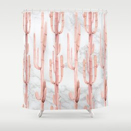 Pink Cactus Climb on Marble Shower Curtain