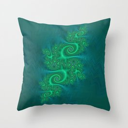 Velvet Dragon Fractal - Green Throw Pillow