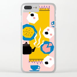 Tea For Three Papercut Collage Print Clear iPhone Case