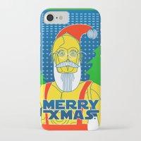 c3po iPhone & iPod Cases featuring Santa C3PO by Xenia Pirovskikh