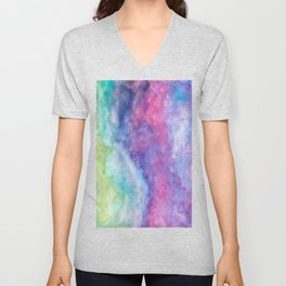 Rainbow Watercolor  Unisex V-Neck