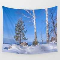 russia Wall Tapestries featuring Winter in Russia by Svetlana Korneliuk