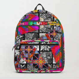 Criss Cross pattern hot pink Backpack