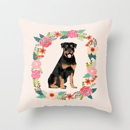 rottweiler floral wreath dog breed pet portrait pure breed dog lovers Throw Pillow