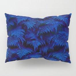 Deep Blue Fern Plant Wall Pillow Sham