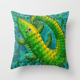 Patterned Crocodile Throw Pillow