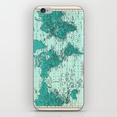 World Map in Teal iPhone & iPod Skin