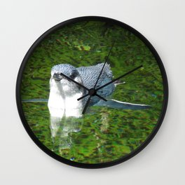 Little Blue Penguin Green Water Wall Clock