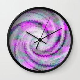 Fuzzy Pink Whirl Tie Dye Wall Clock