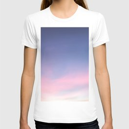 Blue evening sky with pink clouds. Photography T-shirt