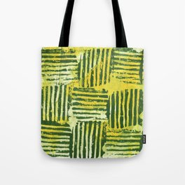 Yellow green striped squares Tote Bag