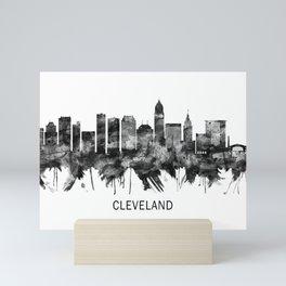 Cleveland Ohio Skyline BW Mini Art Print