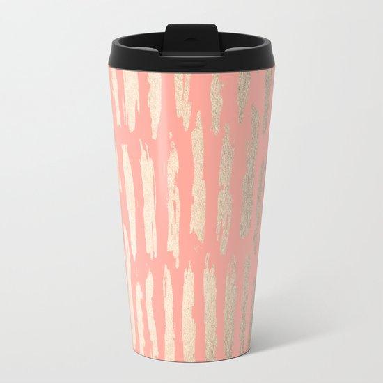 Vertical Dash Tahitian Gold on Coral Pink Stripes Metal Travel Mug