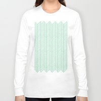 herringbone Long Sleeve T-shirts featuring Herringbone Mint by Project M