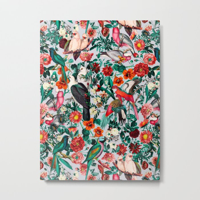 FLORAL AND BIRDS XIV Metal Print