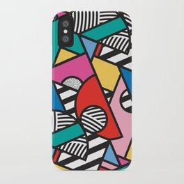 Colorful Memphis Modern Geometric Shapes - Tribal Kente African Aztec iPhone Case