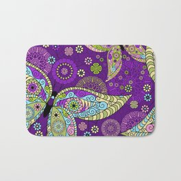 Colorful Butterflies and Flowers V5 Bath Mat