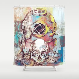 vintage floral skull Shower Curtain