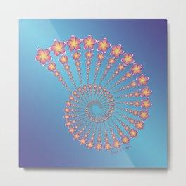 Denise's Frangipani Spiral Shell Metal Print