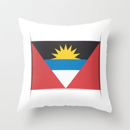 Flag of Antigua and Barbuda.  The slit in the paper with shadows.  Throw Pillow