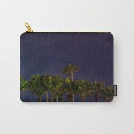 Night Cool Toned Blue Purple Palm Tree Beach Starry Santa Monica Landscape Wall Art Print  Carry-All Pouch