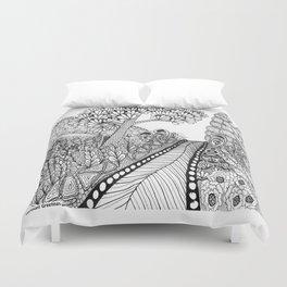 Zentangle Illustration - Road Trip Duvet Cover