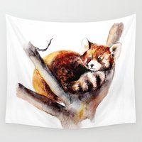 red panda Wall Tapestries featuring Red Panda by Anna Shell