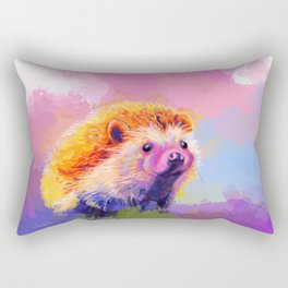 Sweet Hedgehog, cute pink and purple animal painting Rectangular Pillow