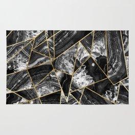 Black White Agate Black Gold Geometric Triangles Rug