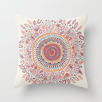 bohemian Throw Pillows featuring Sunflower Mandala by Janet Broxon