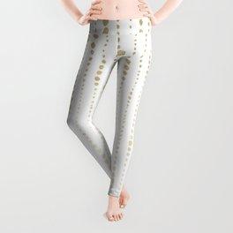 NYC Nights Gold Polka Dot Stripes Leggings