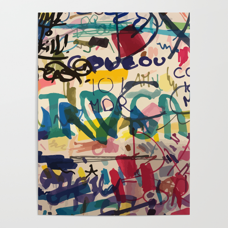 Paper Print Poster 100cm stag elk moose street Art graffiti wall urban stencil
