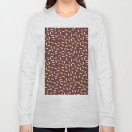 chocolate Glaze with sprinkles. Brown abstract background Long Sleeve T-shirt