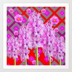 RED-GREY PURPLISH-PINK ROSES & HYACINTHS ART Art Print