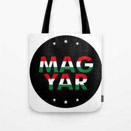 Magyar, circle, black, with stars Tote Bag
