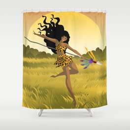wild african huntress jumping in the jungle Shower Curtain