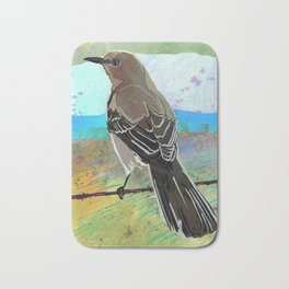 Mockingbird on a Wire Fence - In The Morning Bath Mat