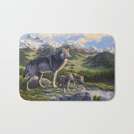 Mother Gray Wolf and Pups River Valley Bath Mat