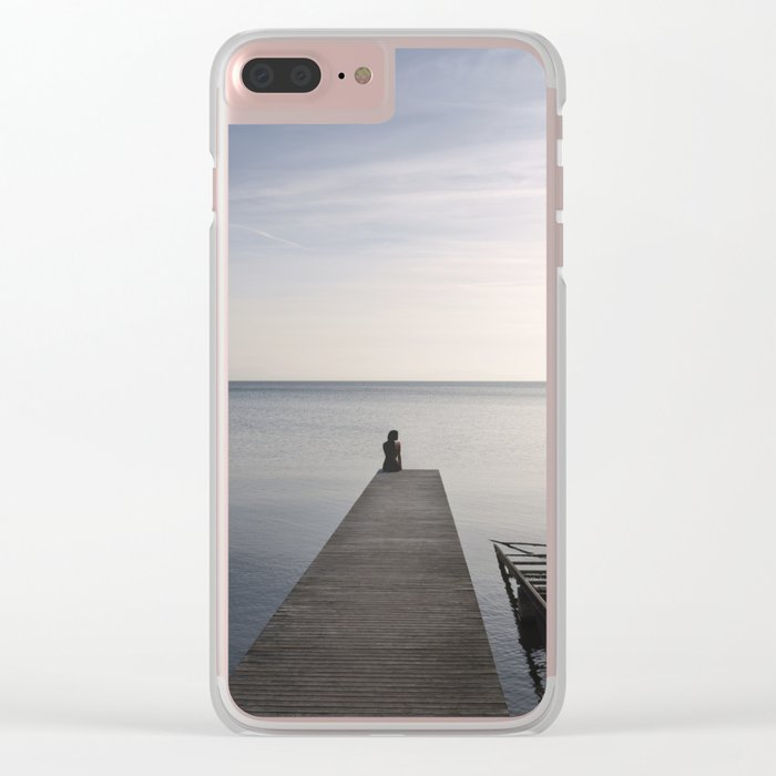 Peaceful Minimal Water Landscape at Sunset Clear iPhone Case