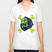 skeletor V-neck T-shirts featuring Skeletor by Beery Method
