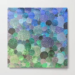Abstract blue & green glamour glitter circles and polka dots for ladies Metal Print