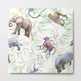 Wild animals African watercolor pattern. Metal Print