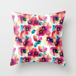 happy floral Throw Pillow