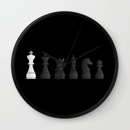 All black one white chess pieces Wall Clock