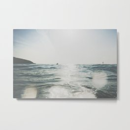 vintage style seascape with Paddle surfer, Metal Print