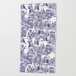 Doctor Who Toile de Jouy | 'Walking Doodle' | Blue Beach Towel