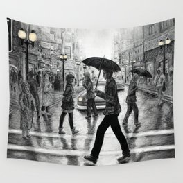 Untitled - Charcoal Drawing - people, figure drawing, rainy day, umbrella, silhouette, crowd, urban Wall Tapestry