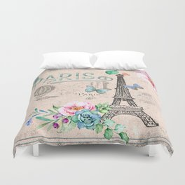 Paris - my love - France Nostalgy- pink French Vintage Duvet Cover