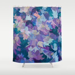 Autumn Leaves (blue, cyan, pink, orange, purple) Shower Curtain