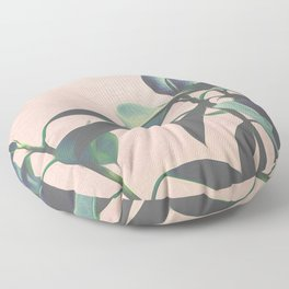 Pink Tropical Leaves Floor Pillow